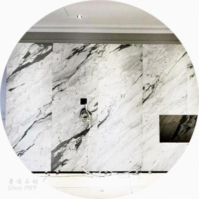 雕刻白-石材電視牆